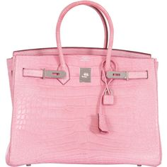 Pre-Owned Hermes Birkin Bag 35cm Matte 5P Bubblegum Alligator Phw ($99,850) ❤ liked on Polyvore featuring bags, handbags, bubblegum, locking purse, red handbags, leather handbags, alligator handbags and multi colored leather handbags