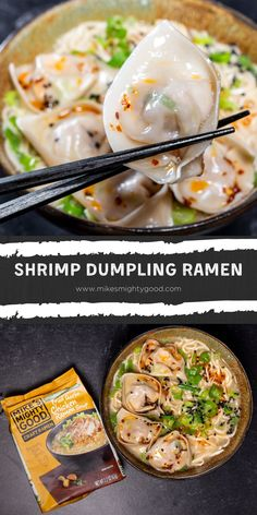 Dumplings + ramen = PERFECTION! We've been missing seafood ramen from our favorite ramen bars so we decided to make these shrimp dumplings. They pair perfectly with our fried garlic chicken ramen and some chili oil! Seafood Ramen, Ramen Soup, Pan Fried Dumplings, Shrimp Dumplings, Spicy Recipes, Shrimp Recipes, Asian Recipes, Garlic Fried Chicken, Dumpling Wrappers