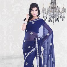 Looking for latest designer party wear sarees or traditional party wear sarees? Shop online from the party saree collection at Utsav Fashion for fancy party sarees. Party Wear Sarees Online, Party Sarees, Fancy Party, Saree Collection, Indian Sarees, Kimono Top, Sari, Blue Saree, Glamour