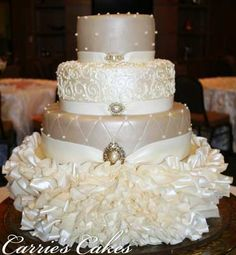 What a cake! Elegant ivory and beige wedding cake with complicated fondant draping and jewel detail. Beautiful Wedding Cakes, Gorgeous Cakes, Pretty Cakes, Cute Cakes, Amazing Cakes, Cake Wedding, Wedding Reception, Unique Cakes, Elegant Cakes