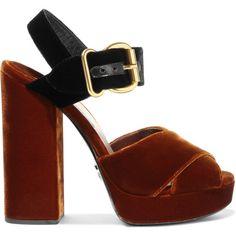 Prada Two-tone velvet sandals (£580) ❤ liked on Polyvore featuring shoes, sandals, prada sandals, black high heel shoes, brown platform sandals, black ankle strap sandals and platform shoes