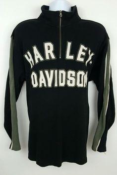 Harley-Davidson 1/2 Zip Black Gray Men's Pullover Sweater Jacket Size XL