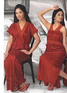 8bd390f4f0 Indiatrendzs Women's Sexy Hot Nighty Hot Red 2pc Set Silk Satin Nightwear  Dress-Freesize Indiatrendzs