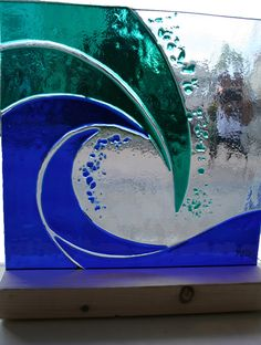 glass wave - by M & D Glass from Plymouth in Devon on Display at Blue Indigo Gallery, 1 Little Triangle, Teignmouth, Devon