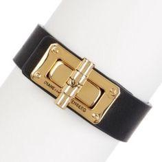 "✨NWT✨ Diane von Furstenberg Black Leather Bracelet NWT! Authentic DVF black leather latch bracelet. Gold plated. Genuine leather. Turn lock clasp. Inner diameter 2.25"", width .75"". Will fit up to a medium size wrist. ***No Trades or PayPal*** Diane von Furstenberg Jewelry Bracelets"