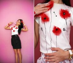 Decorate a plain white t-shirt with organza poppy flowers!