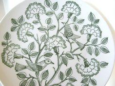 Vintage Dinner Plate Green Birds and Carnations. $15.75, via Etsy.