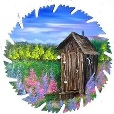 Hand Painted Saw Blade Art Mountain Summer Out House Smoky Mountains