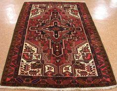 5 x 7 Persian HERIZ Serapi Tribal Hand Knotted Wool RUST NAVY Oriental Rug #PersianHerizSerapiTribalGeometric