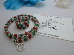 Zodiac Bracelet and Ring set -Taurus*, Handmade, Genuine Fluorite, Jade, Red Jasper beads/ Pewter bracelet . Free Shipping by ERdesignsjewelry on Etsy