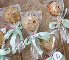 These charming cherry pie pops take center stage whether displayed as part of a place setting, or vertically in a stand. Who doesn't love dessert on a stick? These petite pastries double as creative handmade favors for a wedding pie bar or any party occasion! Try these with different fillings, they're tasty with apple, blueberries…