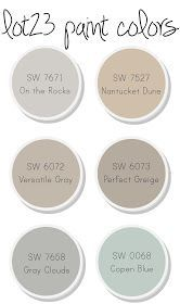 a great palette of  Sherwin Williams paint colors Blue for laundry room... Tan for kitchen... Gray for den: home owner used - Master Bedroom - On the Rocks Main Bath - Nantucket Dune E's Bedroom - Versatile Gray Master Bathroom - Perfect Greige Kitchen/Dining Area - Gray Clouds Living Room/Foyer - Gray Clouds Powder Room - Copen Blue