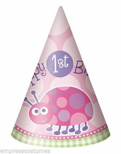 1st Birthday Party Hats Girls Pink Ladybug x 8 Party Supplies