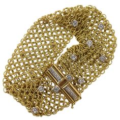 Gold woven mesh bracelet with diamonds   From a unique collection of vintage cuff bracelets at http://www.1stdibs.com/bracelets/cuff-bracelets/