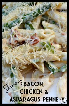 Skinny Bacon, Chicken, and Asparagus Penne Pasta Recipe