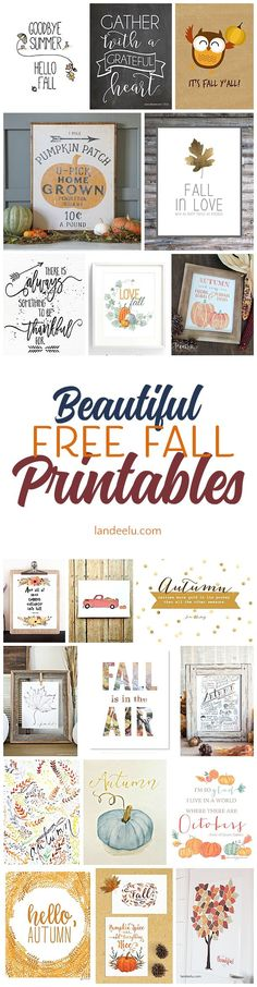 20 free-fall prints for your home! - Inspiration for Moms / Simple Home Decor and DIY Projects - Fall Crafts, Decor Crafts, Holiday Crafts, Diy And Crafts, Diy Hacks, Happy Fall Y'all, Fall Diy, Seasonal Decor, Autumn Decorations