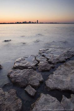 Lake Erie looking towards Buffalo New York Skyline.