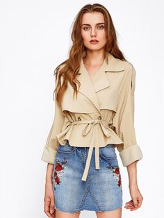 Self Belt Layered Trench Coat