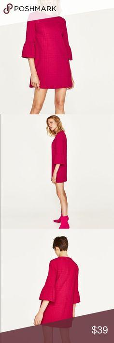 Zara Dress with Frilled Sleeve Fuchsia Zara Fuchsia Dress with Frilled Sleeves Zara Dresses Mini