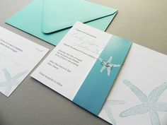 Beach and Starfish Destination Wedding Invitation Suite, RSVP Card, Belly Band plus Envelope - Assembled Sample. $3.25, via Etsy.