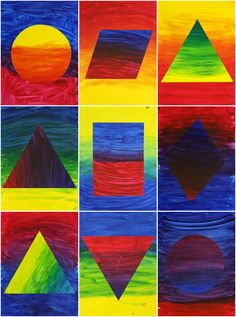 These primary colour gradients were painted by year 5 and 6 students. The process is simple but the results are striking. This is a sli...
