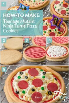 Cookies that look like pizza for a TMNT party... every boy's dream. #pizzaparty #cookiedecorating