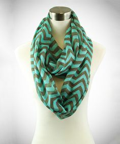 Love this TROO Mint & Brown Chevron Infinity Scarf by TROO on #zulily! #zulilyfinds
