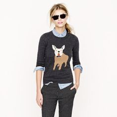 J.Crew English Bulldog sweater Adorable J.Crew French Bulldog sweater! It's been gently used but in good co sit-up , with some polling from normal wear. J. Crew Sweaters Crew & Scoop Necks