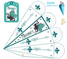 boite_cone Printable Box, Printables, Dragon Party, Free Boxes, Party Favor Bags, Origami, Craft Box, Paper Toys, Book Making