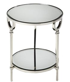 Brighten your living room or bedroom with the Butler Specialty Jolene End Table . This gleaming aluminum frame is finished in polished silver. Accent Furniture, Living Room Furniture, Silver Side Table, Small Accent Tables, Mirrored End Table, Modern French Country, Metal Mirror, Beveled Glass, Round Mirrors
