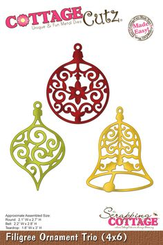CottageCutz Filigree Ornament Trio (4x6)