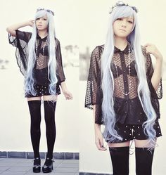fashion flowers outfit studs Alternative pastel hair goth forever 21 gothic Japanese Fashion lookbook blue hair pastel goth wig jfashion thigh highs bodyline nu goth crosses
