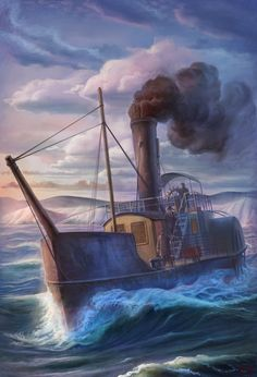 """STEAM TUG IROQUOIS"" - Watercolor, in Tugboat Paintings ..."