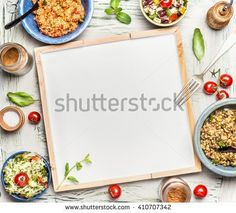 Various healthy vegetarian salads bowls around blank white chalkboard, top view. Salad bar. Food background for menu, recipes or your text