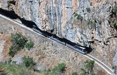 Odontotos rack railway Diakopto-Kalavrita under the shadow of Helmos mountain I was there in 2000 Awesome view! Trains, Places In Greece, Under The Shadow, Paragliding, Greece Travel, City Photo, Beautiful Places, To Go, Explore