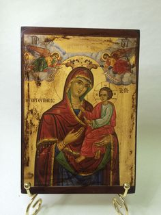 Our Lady Theotokos - Mother Of God - handmade orthodox byzantine icon Byzantine Icons, Our Lady, Vintage World Maps, Christian, Etsy Shop, Unique Jewelry, Handmade Gifts, Mary, Painting