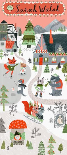 Love this cute wintery festive scene - print & pattern: SURTEX 2015 - lilla rogers studio Winter Illustration, Christmas Illustration, Children's Book Illustration, Christmas Design, Christmas Art, Christmas Characters, Christmas Graphics, Christmas Animals, Illustrations Posters