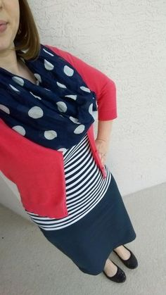 Coral & Navy Stripes. Modern Modesty. Modest blog