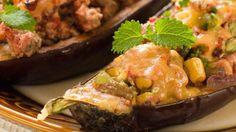 Roast eggplant with warm lentil salad