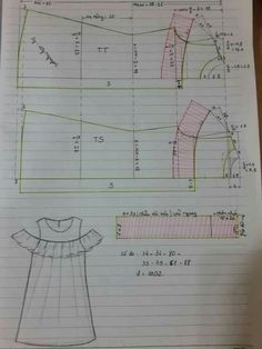 Baby Dress Sewing Tuto Robe 28 New Ideas Kids Dress Patterns, Blouse Patterns, Clothing Patterns, Sewing Hacks, Sewing Tutorials, Pattern Cutting, Pattern Drafting, Fashion Sewing, Sewing Techniques