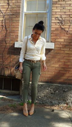 Dig the natural colors, skinny cargos and button-up play up a cute style that I think I could pull off.