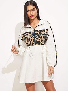 Quarter Zip Contrast Leopard Hooded Dress Streetwear Drawstring Waist Women Clothes 2019 Summer Casual Mini Dresses WHITE S Chic Fall Fashion, Clothes 2019, Hooded Dress, Mode Hijab, Sweatshirt Dress, Looks Style, Printed Sweatshirts, Fall Winter Outfits, Drawstring Waist