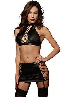 9553817e38408 Dreamgirl Womens FauxLeather Halter and Garter Skirt with Laceup Sides  Black OS     BEST VALUE BUY on Amazon  DreamgirlCollections. Crop Top SetLeather  ...