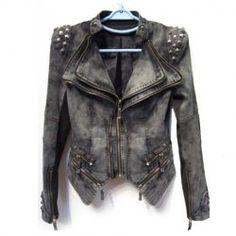 $45.30 Stud Embellished Asymmetrical Hem Zippers Pockets Denim Solid Color Coat For Women