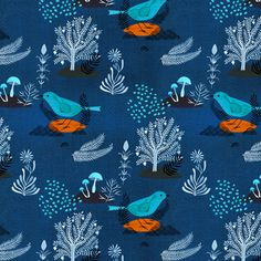Cloud9 Moody Blues bird fabric - organic cotton print - 1/2 YD