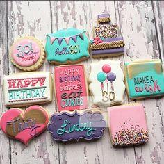 Birthday cookies for a beautiful friend  #natsweets #birthdaycookies…