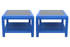 Blue Glass-Top Tables, Pair on OneKingsLane.com