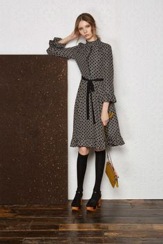 Orla Kiely prefall 2017 mock neck ruffle dress , knee socks