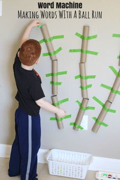 Word Machine: Making Words With a Ball Run. Teach kids to put letters together to make words with this fun activity!