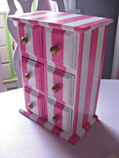 SALE Pink and White Stripe chest of drawers with Aqua interior Diy Furniture Fix, Pink Furniture, Funky Painted Furniture, Repurposed Furniture, Furniture Making, Furniture Makeover, Girls Jewelry Box, Diy Jewelry, Pink Home Decor